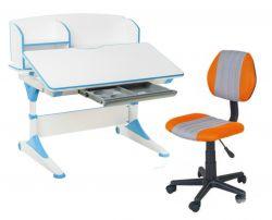 Комплект FunDesk Парта-трансформер Trovare с надстройкой с креслом LST4 и прозрачной накладкой на парту 65х45