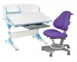 Комплект FunDesk Парта-трансформер Trovare с надстройкой с креслом Bravo и прозрачной накладкой на парту 65х45