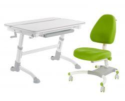 Комплект FunDesk Парта-трансформер Volare с креслом Ottimo и прозрачной накладкой на парту 65х45