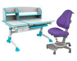 Комплект FunDesk Парта-трансформер Amare II с ящиком с креслом Bravo и прозрачной накладкой на парту 65х45
