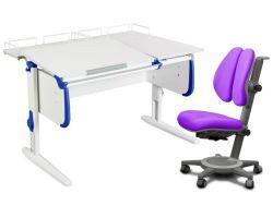 Комплект ДЭМИ Парта СУТ-25-01 WHITE DOUBLE с раздельной столешницей с креслом Cambridge Duo и прозрачной накладкой на парту 65х45