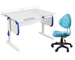Комплект ДЭМИ Парта СУТ-25-01 WHITE DOUBLE с раздельной столешницей с креслом Aladdin и прозрачной накладкой на парту 65х45