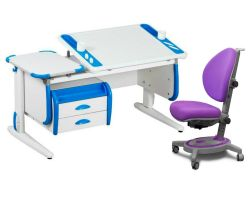 Комплект ДЭМИ Парта Techno СУТ 31-03 с тумбой с креслом Stanford и прозрачной накладкой на парту 65х45