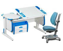 Комплект ДЭМИ Парта Techno СУТ 31-03 с тумбой с креслом Stanford Duo и прозрачной накладкой на парту 65х45