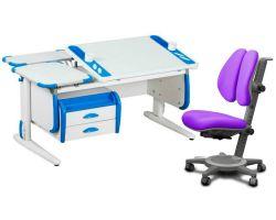 Комплект ДЭМИ Парта Techno СУТ 31-04 с креслом Cambridge Duo и прозрачной накладкой на парту 65х45
