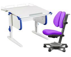 Комплект ДЭМИ Парта WHITE СТАНДАРТ СУТ-24-01 с креслом Cambridge Duo и прозрачной накладкой на парту 65х45