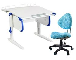 Комплект ДЭМИ Парта WHITE СТАНДАРТ СУТ-24-01 с креслом Aladdin и прозрачной накладкой на парту 65х45