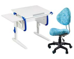Комплект ДЭМИ Парта WHITE СТАНДАРТ СУТ-24К с креслом Aladdin и прозрачной накладкой на парту 65х45