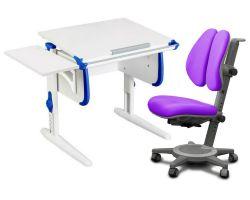 Комплект ДЭМИ Парта WHITE СТАНДАРТ СУТ-24К с креслом Cambridge Duo и прозрачной накладкой на парту 65х45