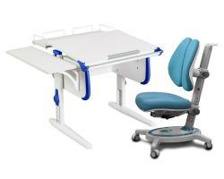 Комплект ДЭМИ Парта WHITE СТАНДАРТ СУТ-24-02 с креслом Stanford Duo и прозрачной накладкой на парту 65х45