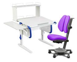 Комплект ДЭМИ Парта WHITE СТАНДАРТ СУТ-24-02Д с креслом Cambridge Duo и прозрачной накладкой на парту 65х45