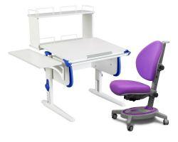 Комплект ДЭМИ Парта WHITE СТАНДАРТ СУТ-24-02Д с креслом Stanford и прозрачной накладкой на парту 65х45