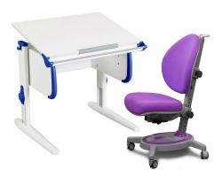 Комплект ДЭМИ Парта WHITE СТАНДАРТ СУТ 24 с креслом Stanford и прозрачной накладкой на парту 65х45