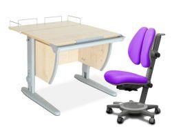 Комплект ДЭМИ Парта СУТ-14-01 75х55 см с задней приставкой с креслом Cambridge Duo и прозрачной накладкой на парту 65х45
