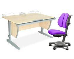 Комплект ДЭМИ Парта СУТ-15-01 120х55 см с креслом Cambridge Duo и прозрачной накладкой на парту 65х45