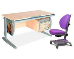 Комплект ДЭМИ Парта СУТ-15-03P 120х55 см с рисунком с креслом Stanford и прозрачной накладкой на парту 65х45