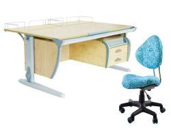 Комплект ДЭМИ Парта СУТ-15-04 120х55 см с задней приставкой с креслом Aladdin и прозрачной накладкой на парту 65х45