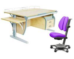 Комплект ДЭМИ Парта СУТ-15-05 120х55 см с креслом Cambridge Duo и прозрачной накладкой на парту 65х45