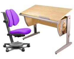 Комплект ДЭМИ Парта СУТ-15P 120х55 см с рисунком с креслом Cambridge Duo и прозрачной накладкой на парту 65х45