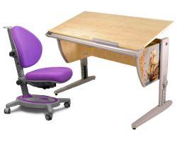 Комплект ДЭМИ Парта СУТ-15P 120х55 см с рисунком с креслом Stanford и прозрачной накладкой на парту 65х45