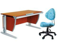 Комплект ДЭМИ Парта СУТ-15 120х55 см с креслом Aladdin и прозрачной накладкой на парту 65х45
