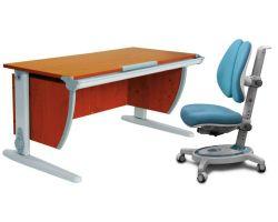 Комплект ДЭМИ Парта СУТ-15 120х55 см с креслом Stanford Duo и прозрачной накладкой на парту 65х45