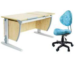 Комплект ДЭМИ Парта СУТ-17 120Х55 см с раздельной столешницей с креслом Aladdin и прозрачной накладкой на парту 65х45