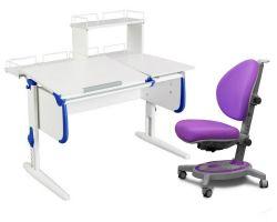 Комплект ДЭМИ Парта СУТ-25-01Д WHITE DOUBLE с раздельной столешницей с креслом Stanford и прозрачной накладкой на парту 65х45