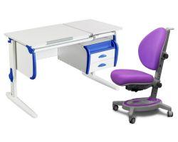Комплект ДЭМИ Парта СУТ-25-03 WHITE DOUBLE с креслом Stanford и прозрачной накладкой на парту 65х45