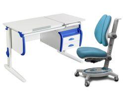 Комплект ДЭМИ Парта СУТ-25-03 WHITE DOUBLE с креслом Stanford Duo и прозрачной накладкой на парту 65х45