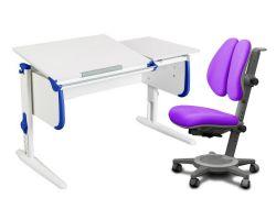 Комплект ДЭМИ Парта СУТ-25 WHITE DOUBLE с раздельной столешницей с креслом Cambridge Duo и прозрачной накладкой на парту 65х45