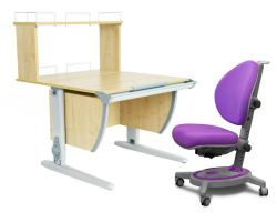 Комплект ДЭМИ Парта СУТ 14-01Д с креслом Stanford и прозрачной накладкой на парту 65х45