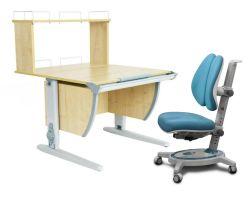 Комплект ДЭМИ Парта СУТ 14-01Д с креслом Stanford Duo и прозрачной накладкой на парту 65х45
