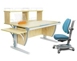 Комплект ДЭМИ Парта СУТ 15-02Д2 с креслом Stanford Duo и прозрачной накладкой на парту 65х45