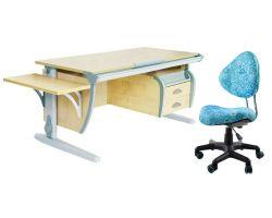 Комплект ДЭМИ Парта СУТ 15-03К с креслом Aladdin и прозрачной накладкой на парту 65х45