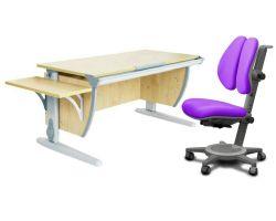 Комплект ДЭМИ Парта СУТ 15К с креслом Cambridge Duo и прозрачной накладкой на парту 65х45