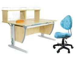 Комплект ДЭМИ Парта СУТ 17-01Д2 с креслом Aladdin и прозрачной накладкой на парту 65х45