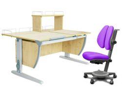 Комплект ДЭМИ Парта СУТ 17-01Д с креслом Cambridge Duo и прозрачной накладкой на парту 65х45