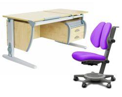 Комплект ДЭМИ Парта СУТ 17-03 120Х55 см с подвесной тумбой с креслом Cambridge Duo и прозрачной накладкой на парту 65х45