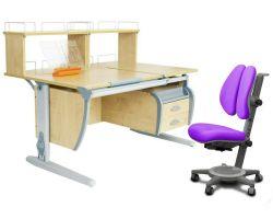 Комплект ДЭМИ Парта СУТ 17-04Д2 с креслом Cambridge Duo и прозрачной накладкой на парту 65х45