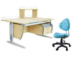 Комплект ДЭМИ Парта СУТ 17-04Д с креслом Aladdin и прозрачной накладкой на парту 65х45