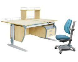 Комплект ДЭМИ Парта СУТ 17-04Д с креслом Stanford Duo и прозрачной накладкой на парту 65х45