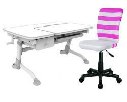 Комплект FunDesk Парта-трансформер Amare с ящиком с креслом LST9 и прозрачной накладкой на парту 65х45