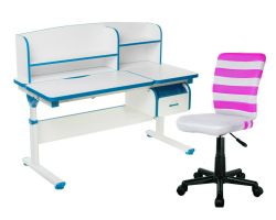 Комплект FunDesk Парта-трансформер Creare с креслом LST9 и прозрачной накладкой на парту 65х45