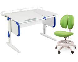 Комплект ДЭМИ Парта СУТ-25-01 WHITE DOUBLE с раздельной столешницей с креслом Duo Kid mini и прозрачной накладкой на парту 65х45