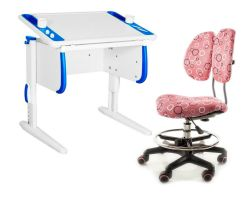 Комплект ДЭМИ Парта Techno СУТ 26 с креслом Simba и прозрачной накладкой на парту 65х45
