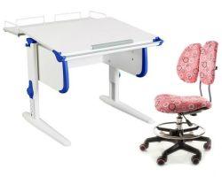 Комплект ДЭМИ Парта WHITE СТАНДАРТ СУТ-24-01 с креслом Simba и прозрачной накладкой на парту 65х45