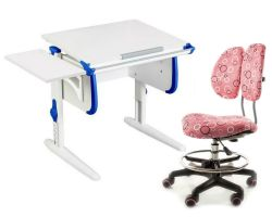 Комплект ДЭМИ Парта WHITE СТАНДАРТ СУТ-24К с креслом Simba и прозрачной накладкой на парту 65х45