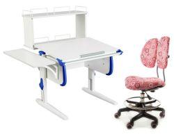 Комплект ДЭМИ Парта WHITE СТАНДАРТ СУТ-24-02Д с креслом Simba и прозрачной накладкой на парту 65х45