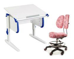 Комплект ДЭМИ Парта WHITE СТАНДАРТ СУТ 24 с креслом Simba и прозрачной накладкой на парту 65х45